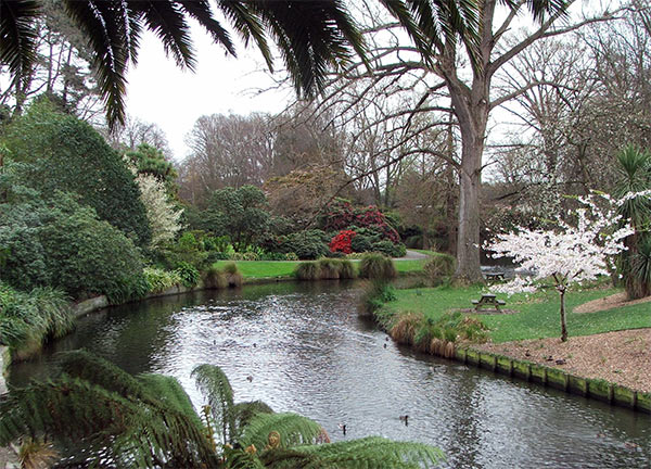 The river Avon, gently flowing through the gardens.