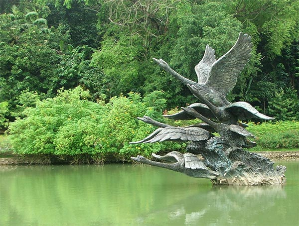 The Flight of Swans sculpture was installed in May 2006 at Swan Lake.