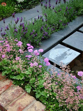 Lavendar and heuchera off-set by slate in a Chelsea garden.