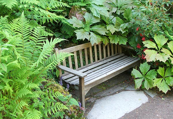 No surprises with this regulation garden seat from Inverewe, Scotland..