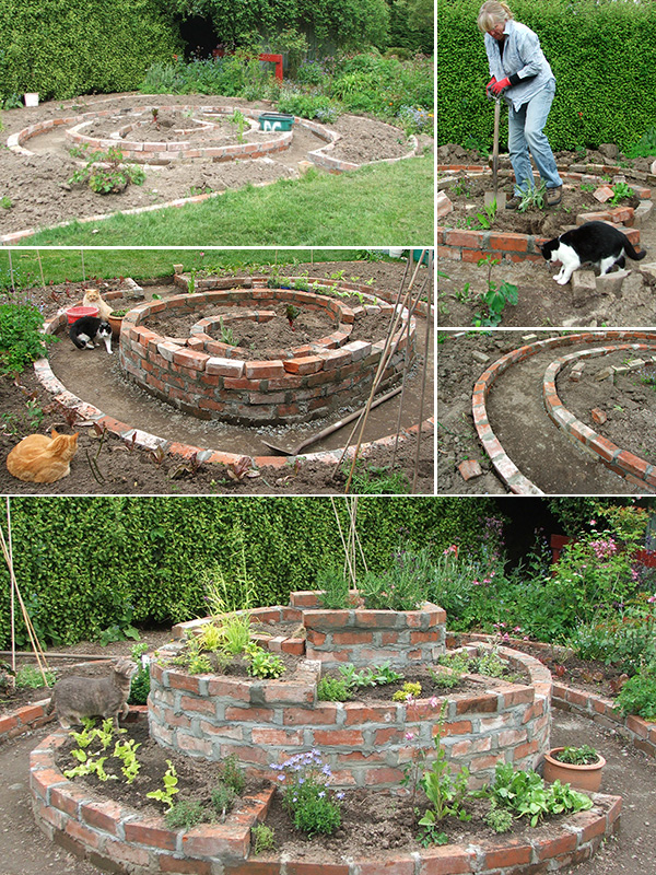 My brick herb spiral for Garden designs with stone circles