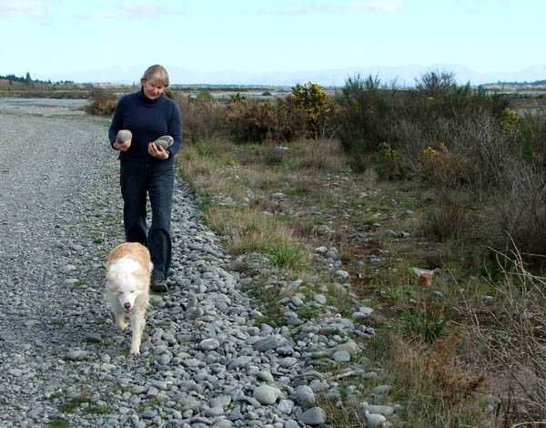 Collecting stones for the Moosey paths.