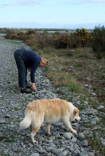 Head Gardener and Rusty at the river.