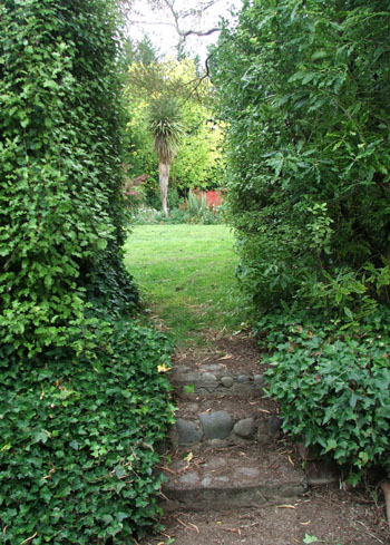 Off to the hen house - the ivy on these stone steps has been cleared.