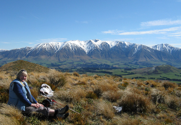 With brilliant views of the mountain ranges over the Rakaia.