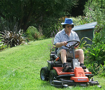 Mowing the lawns.