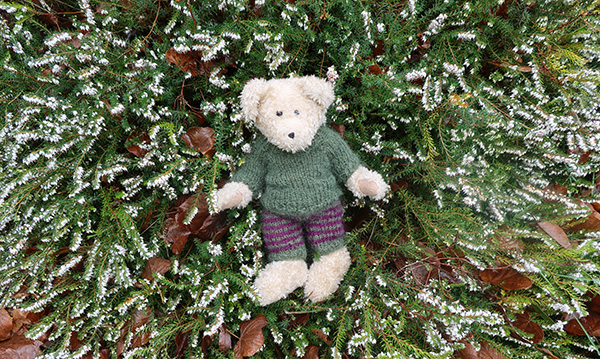 The newly knitted moss green woolly outfit. Check out those stripes!