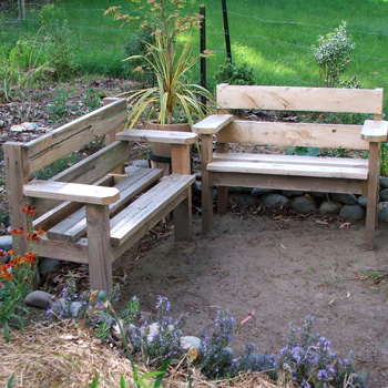Hurray for the rustic gaden benches.