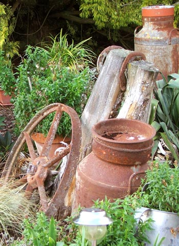 Old wheels and milk churns.