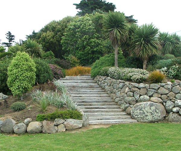 A beautifully landscaped set of wide garden steps.