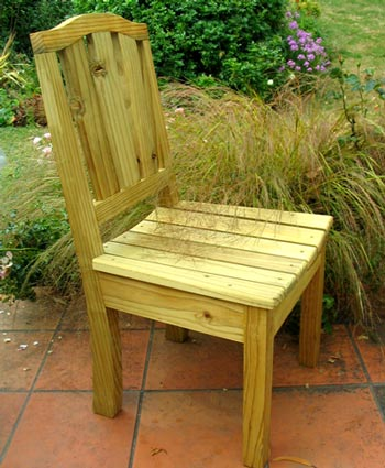 A genuine home-made Moosey outdoor chair for the house patio.