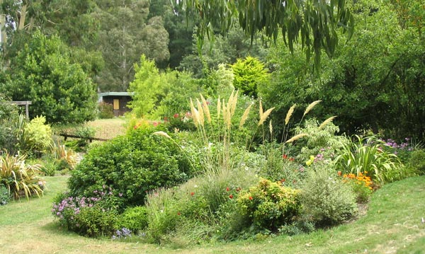 The view from the side shows off the shape of this garden.